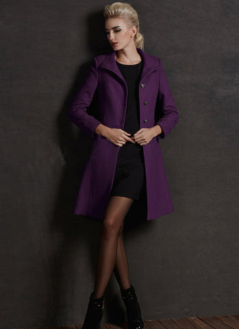 Short Purple Cashmere Wool Coat RB65