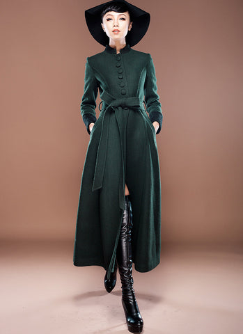 Green Cashmere Wool Coat with Stand Collar & Lace Details RB5