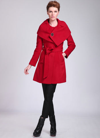 Short Red Cashmere Wool Coat with Shaw Collar RB68