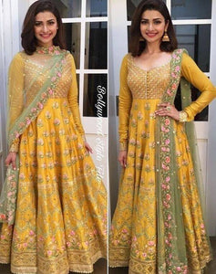 Fancy Yellow Color Embroidery Work Anarkali Suit