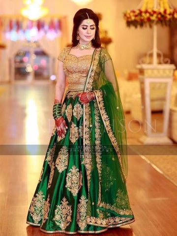 New Designer Green Color Embroidery Lehenga Choli