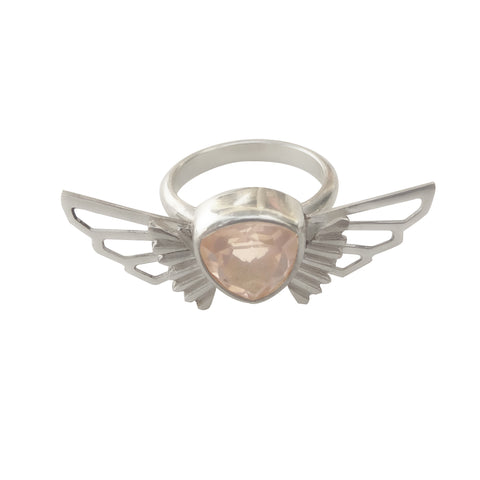 Rose Quartz Wing Ring