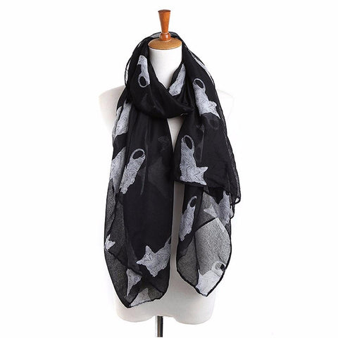 Long Voile Scarf with Cute Cat Print