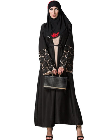 Crochet Lacey Cuffed Front Open Cardigan Black Abaya
