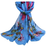 Long Chiffon Scarf with Butterfly Print