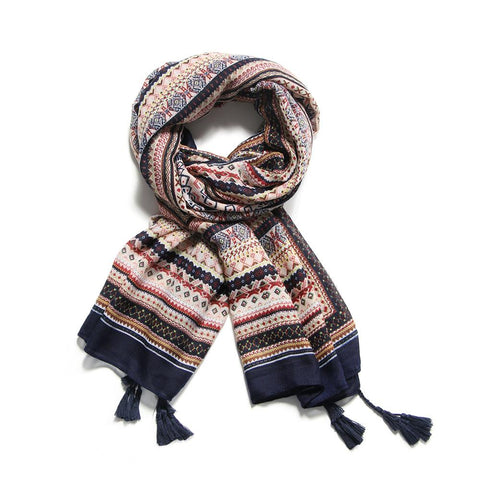 Cotton Tassel Print Long Scarf