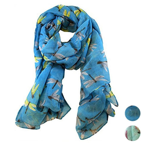 Long Voile Dragonfly Print Scarf