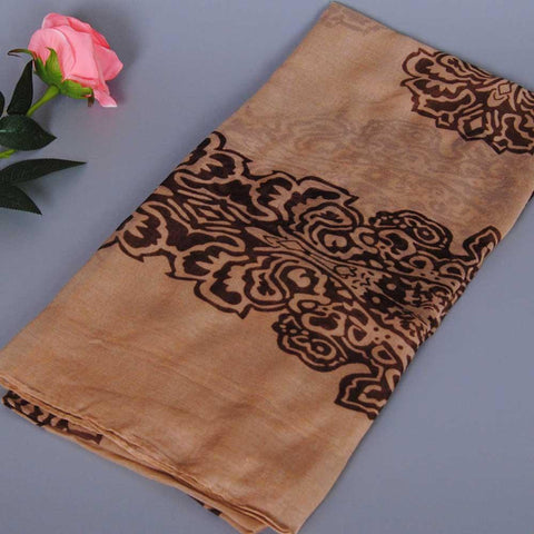 Long Paris Yarn Scarf with Exotic Floral Print