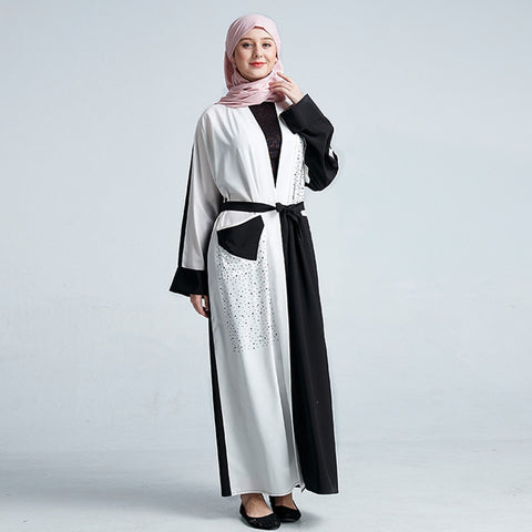 Embroidered Chiffon Abaya with Patchwork