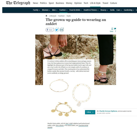 The Telegraph Lifestyle  Fashion  Style The grown-up guide to wearing an anklet Seol+Gold seolgold