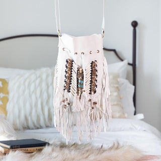 White Boho Bag - Small & Round