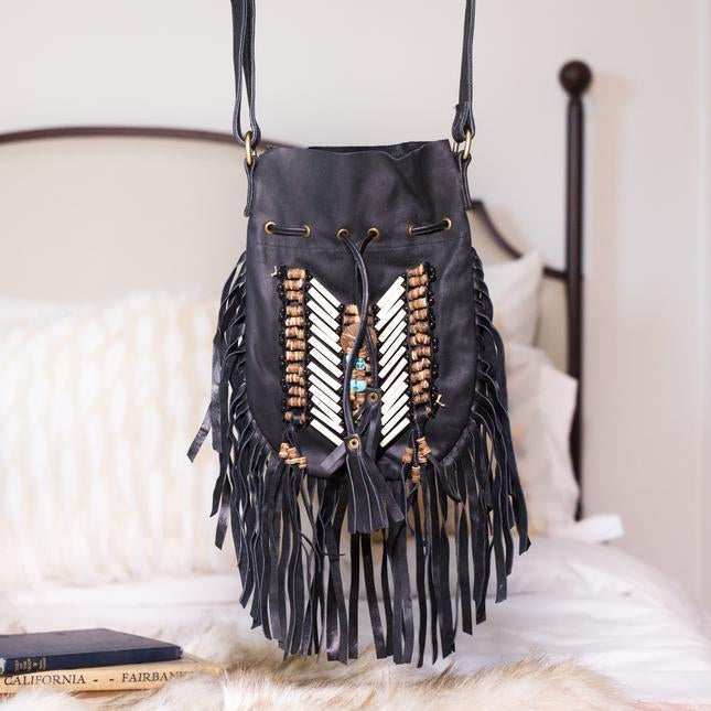 Black Boho Bag - Small & Round