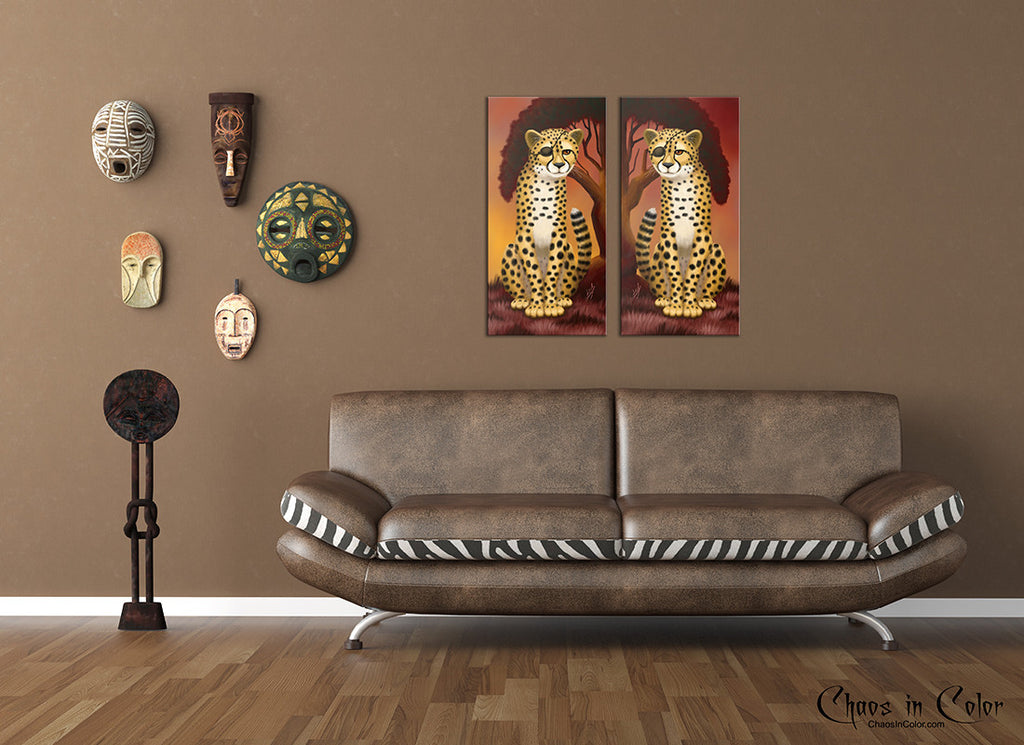 Cheetah Twins Wrapped Canvas Print Set - Chaos in Color - 2