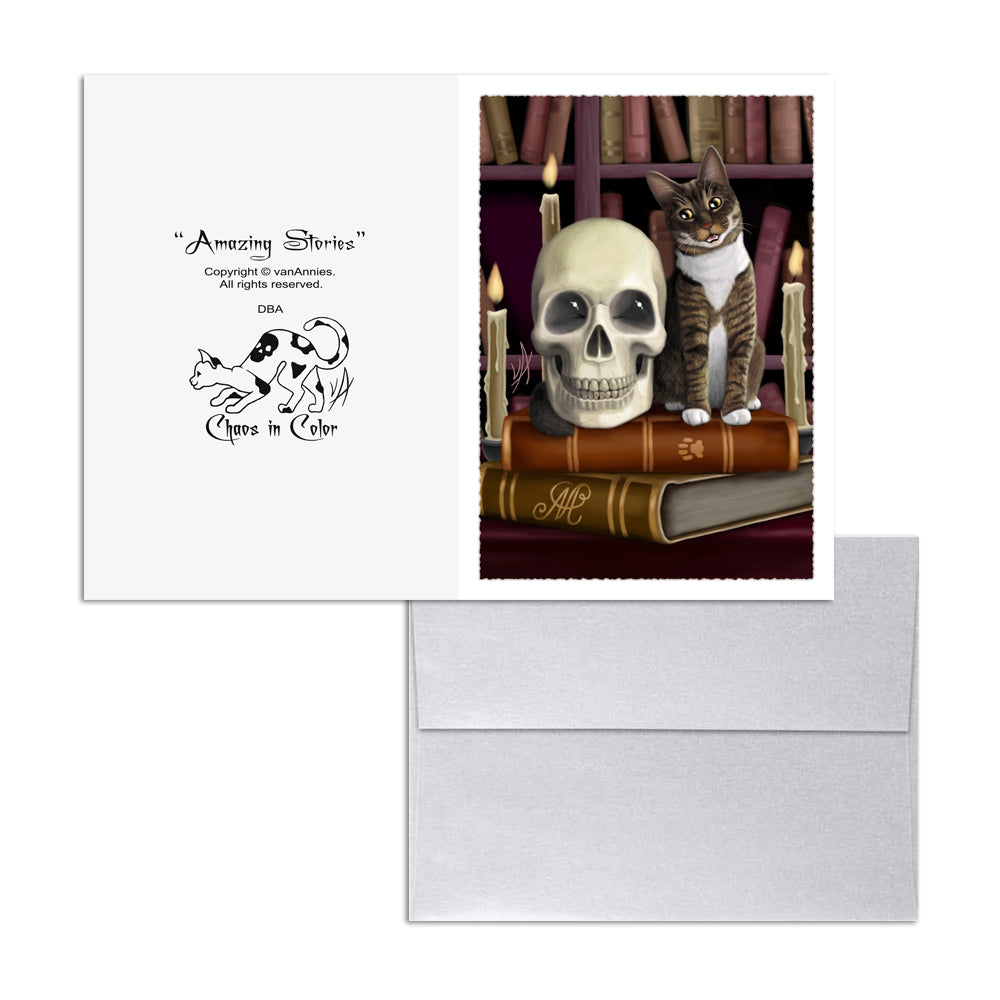 Amazing Stories (Cat Talking with Skull) 5x7 Art Card Print