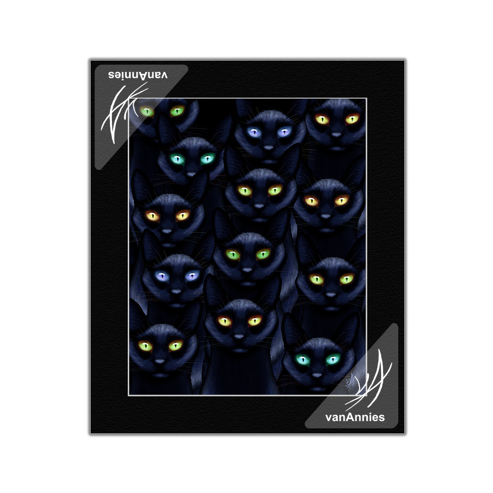 Learn to Love the Dark with Thirteen Black Cats Matted Print