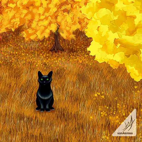Nevermore Autumn Cat Wrapped Canvas Print