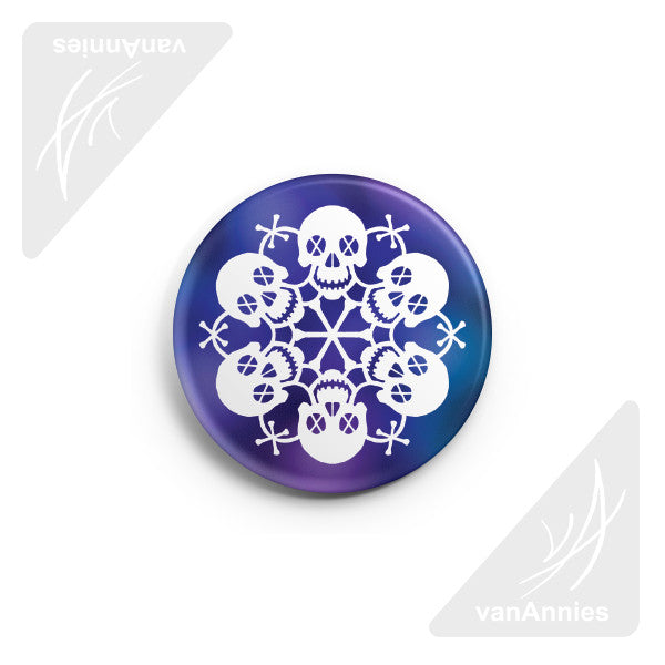 "Let It Snow! Skull Snowflake 2.25"" Pin-back Button"