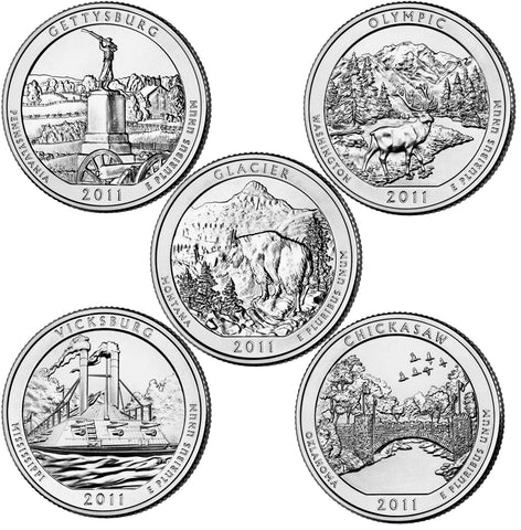 All 10 2011 P and D National Parks Quarters