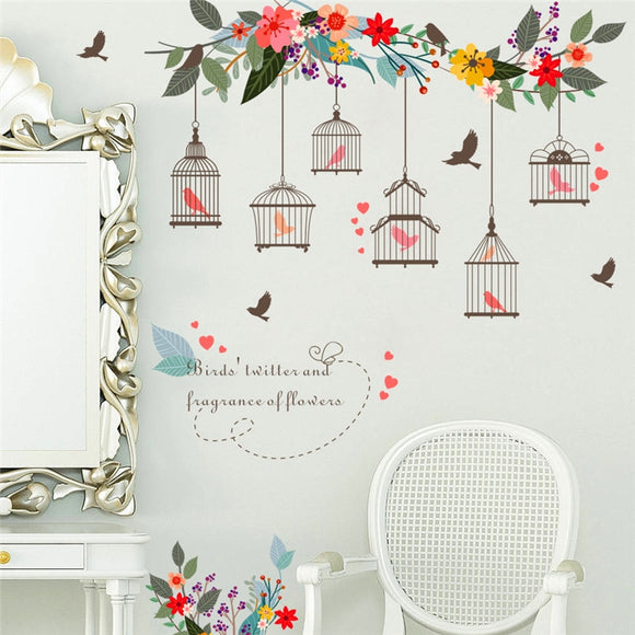 colorful flower bird birdcage wall stickers for living room