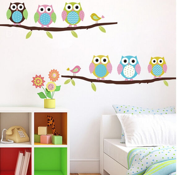 3d DIY Six Owls on Tree Wall Sticker For Kids Rooms