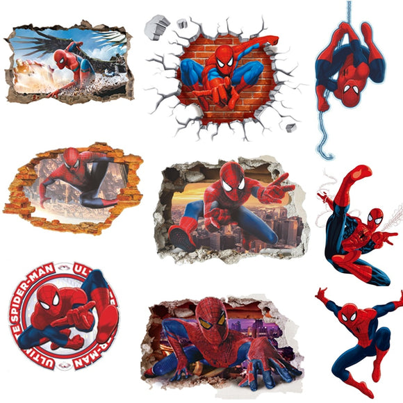 45*50CM 3D Popular Spiderman Cartoon Movie home decal wall sticker