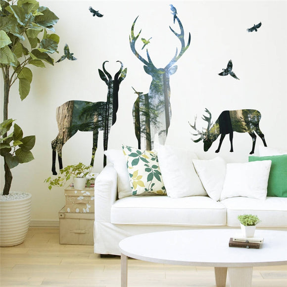 forest deer wall stickers home decor living room
