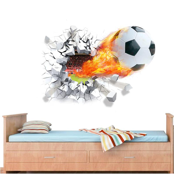 firing football through wall stickers for kids room decoration