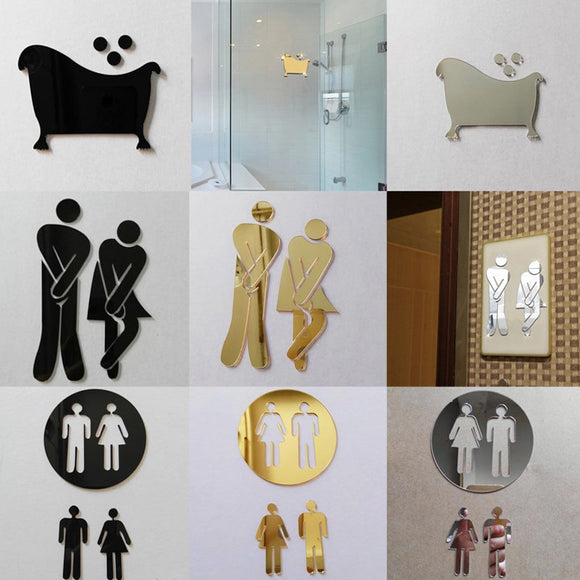 3D Mirror Sticker Funny WC Toilet Door Sign