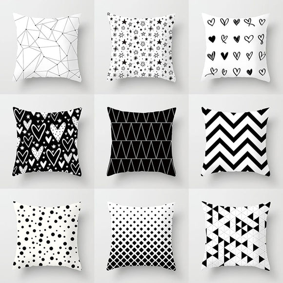 Black and White Geometric Decorative Pillowcases Polyester