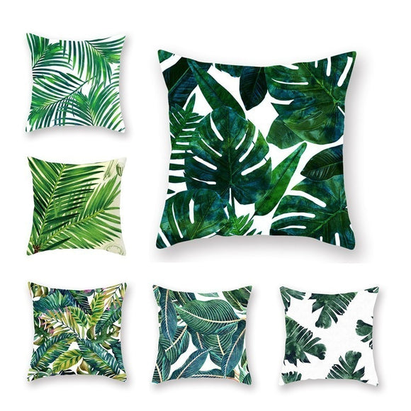 Tropical Plants Pillow Case Polyester Decorative