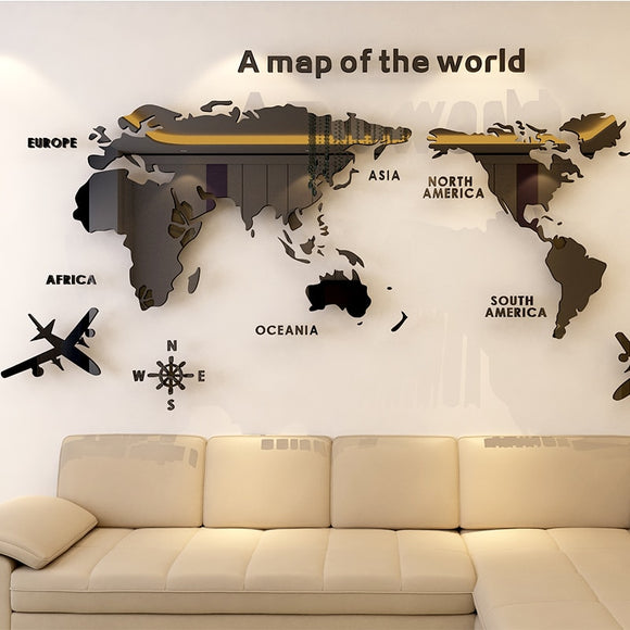 World map Acrylic 3D solid crystal bedroom wall stickers