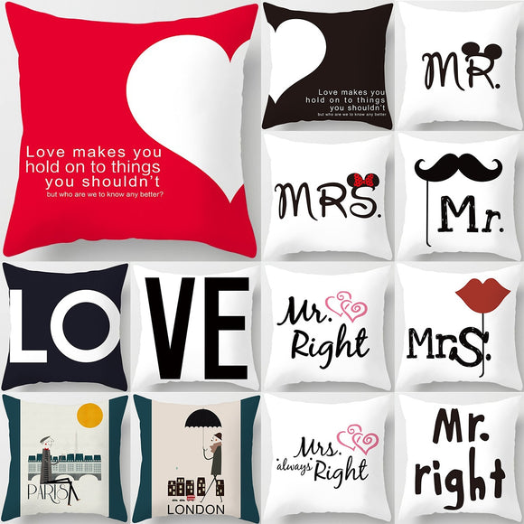 45*45cm New Square Decorative Throw Lovers Couple Pillow Case