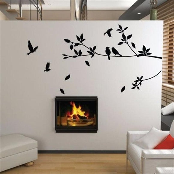 flying bird tree branch vinyl cut wall stickers bedroom living room