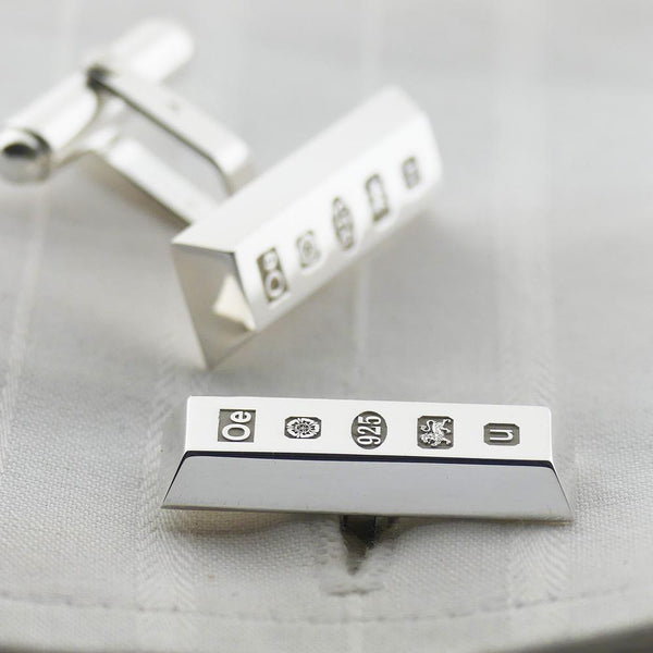 Solid Sterling Silver Ingot Cufflinks