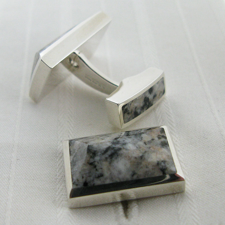 Silver granite cufflinks showing the reverse sides