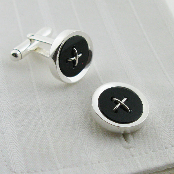 Sterling silver onyx button cufflinks