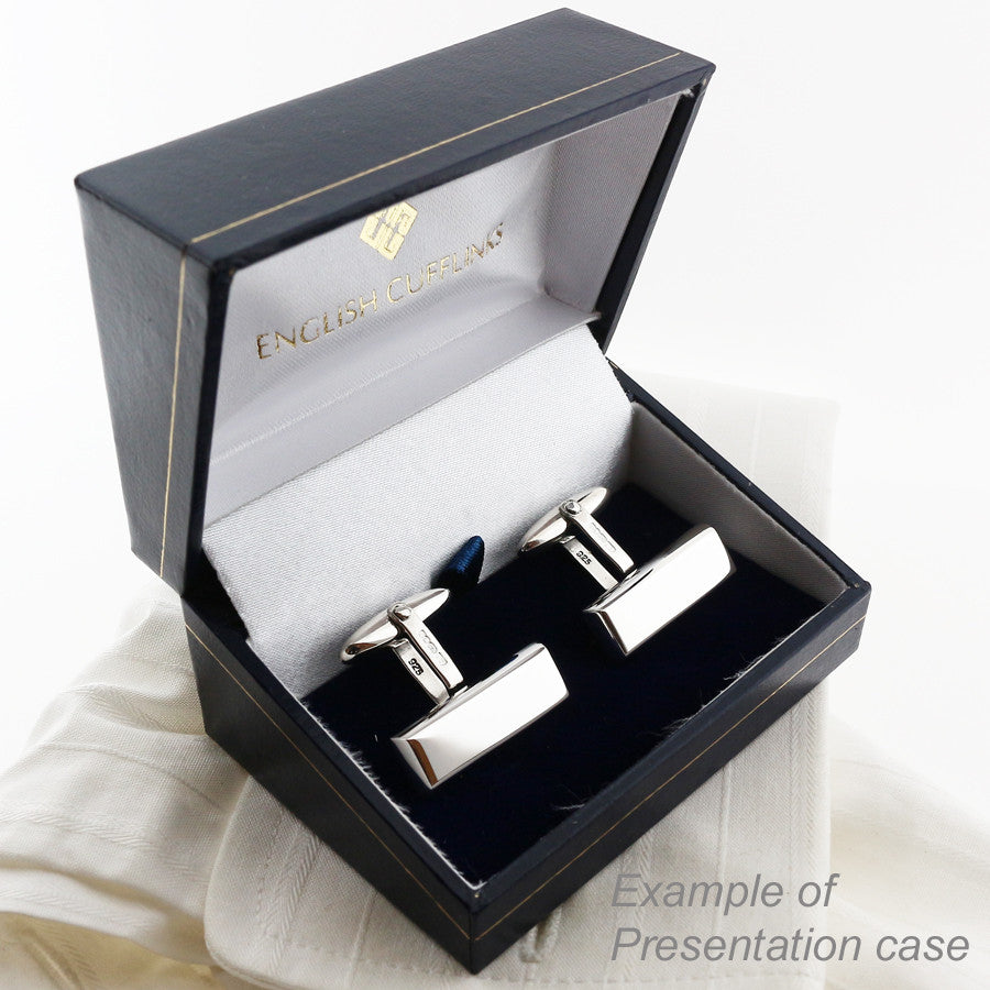 silver cufflinks in case
