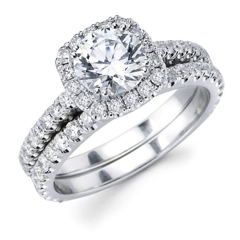 Lyla - Pillow Shape Halo Pavé Bridal Ring Set