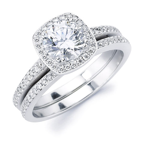 Mia - Elegant Pillow Shape Halo Pavé Bridal Ring Set