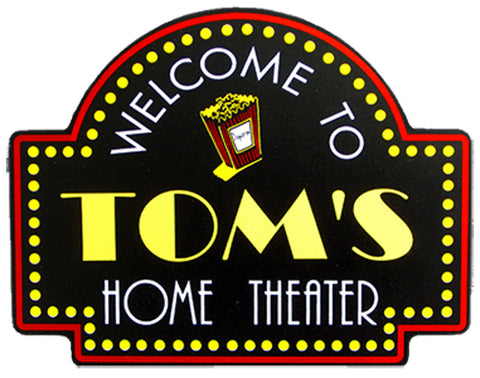 Handcrafted Home Theater Popcorn Sign
