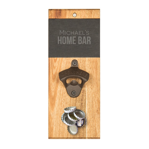 Personalized Slate & Acacia Wall Mount Bottle Opener with Magnetic Cap Catcher
