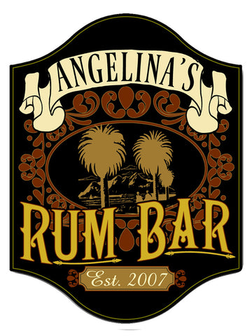 Handcrafted Rum Bar Sign