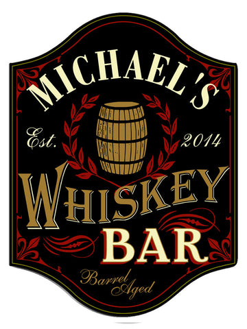 Handcrafted Whiskey Bar Sign