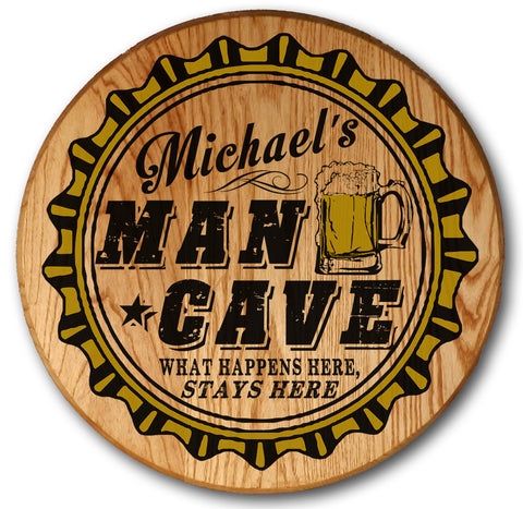 Personalized Man Cave Barrel Head Sign