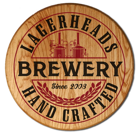 Personalize Brewery Barrel Head Sign