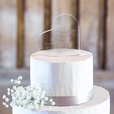 Personalized Tie the Knot Acrylic Heart Cake Topper