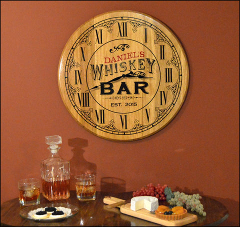 Whiskey Bar Personalized Clock