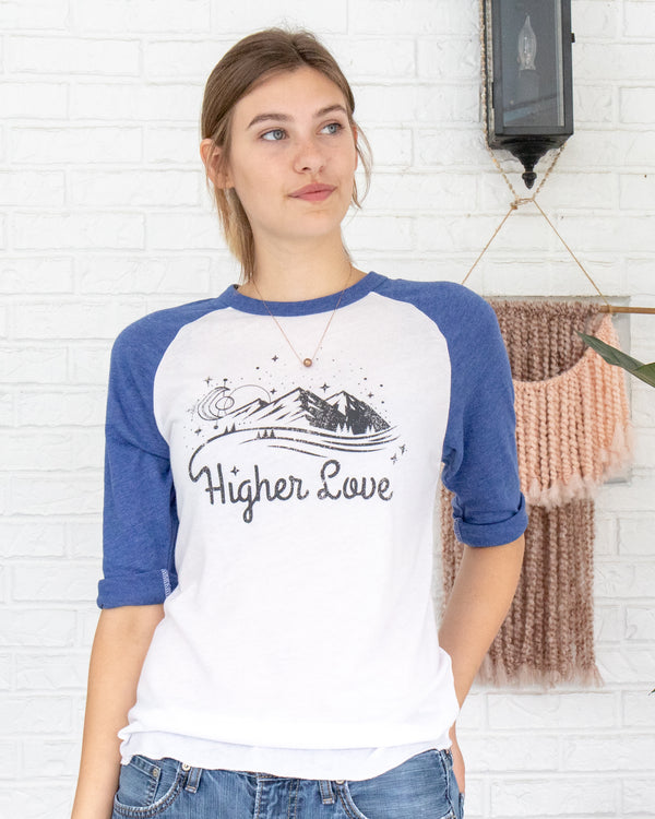 Higher Love  -  Royal and White Baseball Tee
