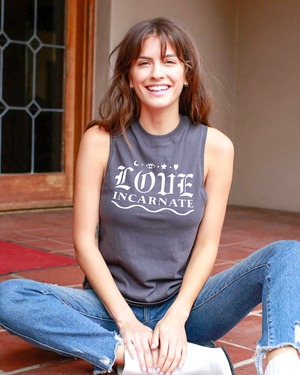 Love Incarnate - Dark Grey Cotton Muscle Tee