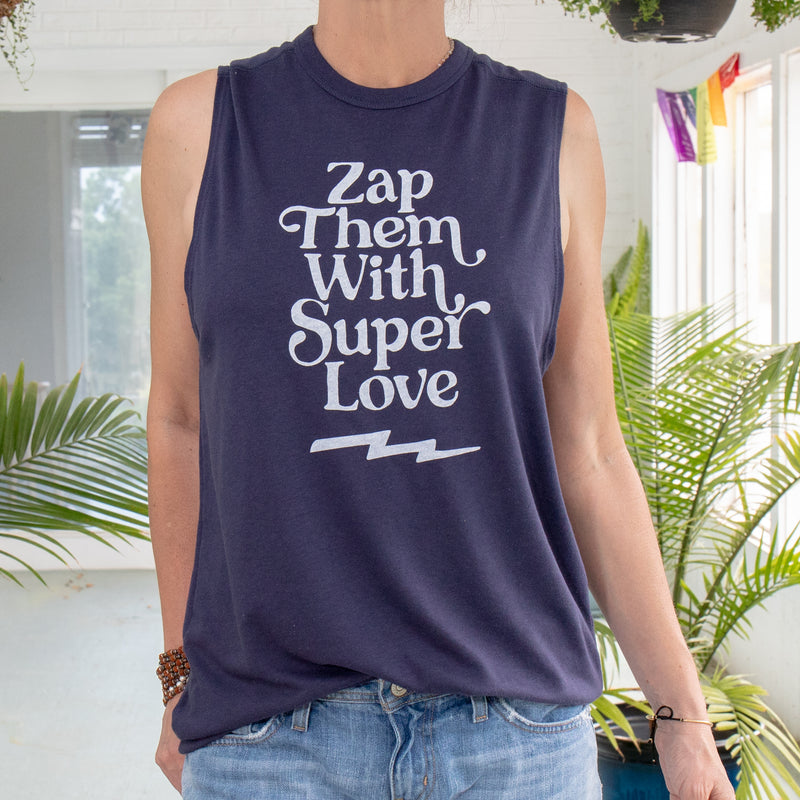 Zap Them with SuperLove - Navy Unisex Muscle Tee